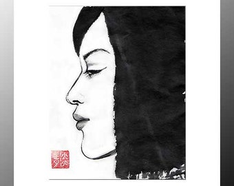 "Original Art ""Profile of a Japanese Girl""  - in Japanese style - sumi-e drawing with wash ink - Wall decor - bamboo brash on rice paper"