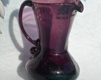 Vintage Blown Glass Pitcher,Dark Purple / Amethyst  1930s