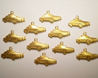 12 Vintage Brass 20mm Crown Victoria Police Car Charms