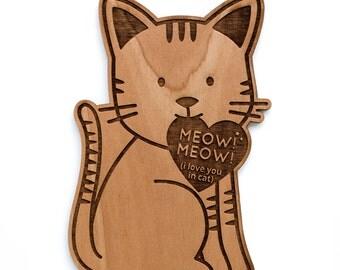 Cute Cat Shape Wood Card [I Love You / Boyfriend or Girlfriend / Valentine Card]