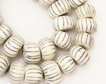 Kenya Bone Beads (10), African Bone Beads , Ethnic Beads, Carved Bone Beads (S20)