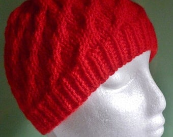 Red Beanie, Cable Knit Hat, Chunky Knit Beanie, ready to ship