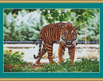 Sumatran Tiger Cross Stitch Pattern /Digital PDF Files /Instant downloadable