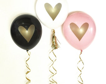 Heart Balloons,  Wedding Balloons, Bridal Shower Balloons, Pink and Gold Balloons, Bachelorette Balloons, Set of 3