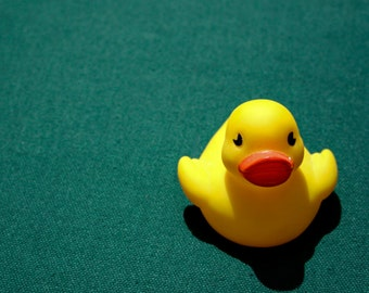 Rubber Duck Photography - Fine Art Print - Yellow Vintage Child Bath Toy Wall Art