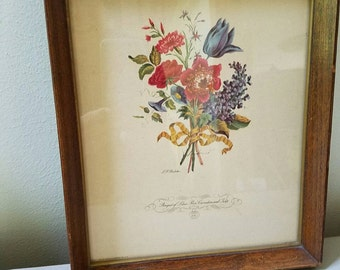 Vintage Botanical Print Bouquet of Lilacs,roses,carnation and tulip No 8 L. F. Roubillac