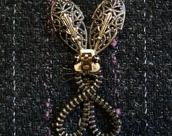Steampunk Rabbit Zipper Brooch - Steampunk Brooch - Steampunk Jewelry