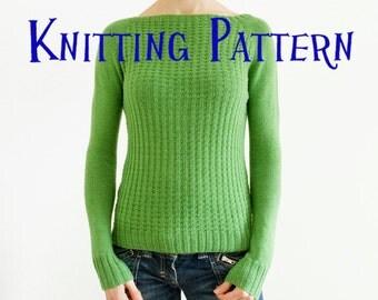 PDF Knitting Pattern - Willow Pullover, Sweater Knitting Pattern, Ladies Clothing Pattern, Top Down Raglan Knitting Pattern