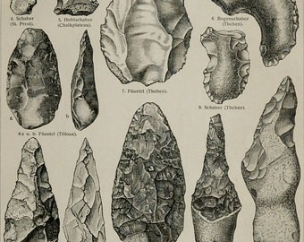 1897 Antique print of ARCHEOLOGY. STONE AGE tools. Stone Axes. Ancient Weapons. 120 years old engraving