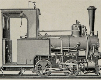 1900 Antique print of ANTIQUE LOCOMOTIVES and ENGINES. Train. 117 years old engraving