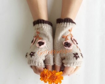 Crochet fingerless gloves, crochet womens gloves, crochet arm warmers, knit flower fingerless gloves hand warmer fingerless mittens