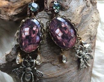 Victorian earrings fairy, cabochons, prints and crystals: 'naïades'