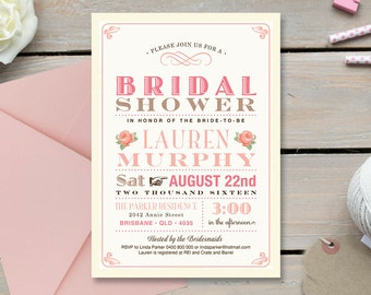 Bridal Shower Invitation \ Wedding Shower \ Printable Invitation \ Pretty Pink Invitation \ Roses (BR20)