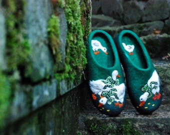 Felted Slippers- Little ducks Green MADE TO ORDER