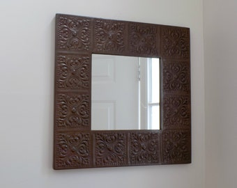 """Large 23"""" Vintage Turkish Copper Repousse Framed Wall Mirror Mid Century Turkey Rustic Home Decor Accessory - Embossed Arts Crafts Style"""
