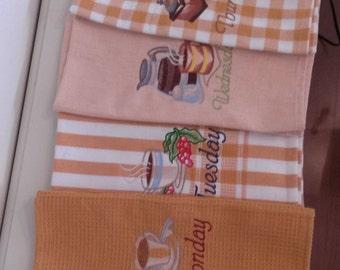 Days of Week/Vintage coffee designs/Embroidered towels