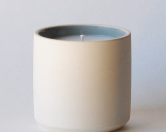 Bergamot + Basil - Soy Wax Candle in Reusable Ceramic Container - Man Candle - Cologne Candle