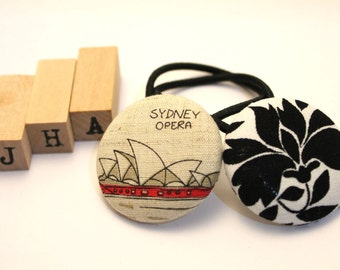 Fabric covered button hair tie - Sydney Opera House