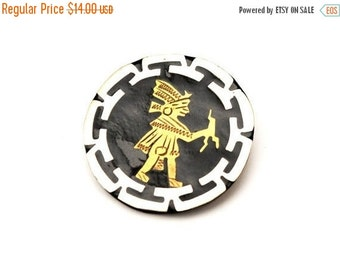 Silver brass Mexico Brooch Alpaca Tribal south western pin