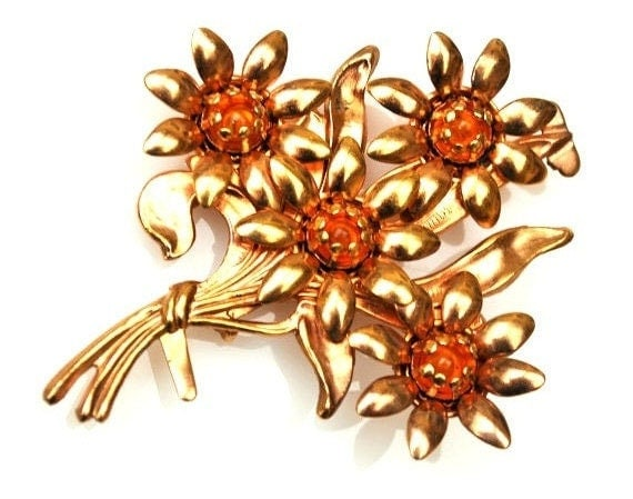 Gold Flower Brooch - Amber Orange Glass  cabochon - Mid century - Floral Pin