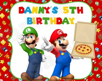 Super Mario & Luigi Printable Pizza Party Birthday Gift Tags, Stickers, Treat Labels - DIY File
