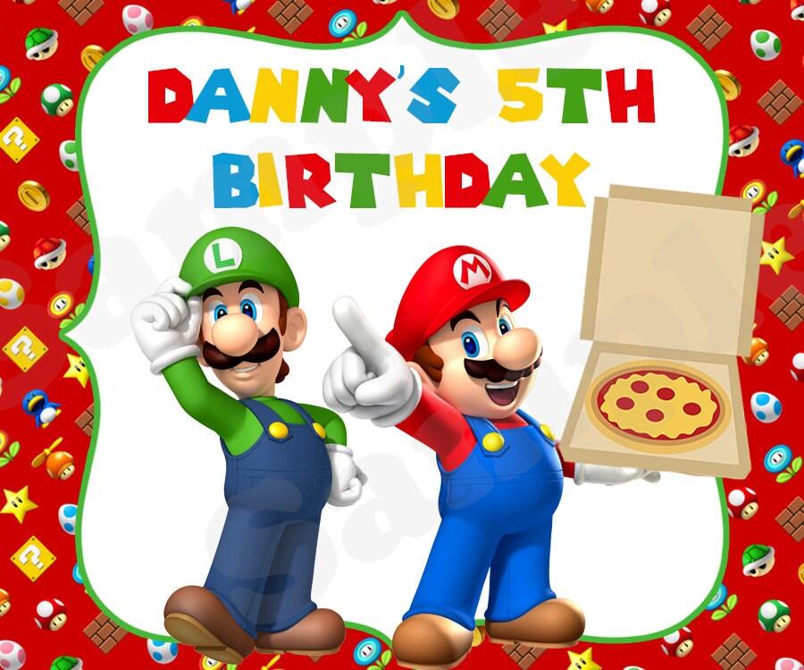 Super mario luigi printable pizza party birthday gift - Luigi mario party ...
