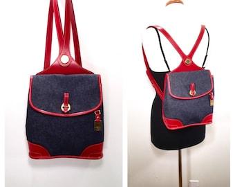 Vintage 1990s Dooney & Bourke Backpack Denim Backpack Red Leather Dooney and Bourke Bag Unique Dooney Bourke Bookbag Satchel