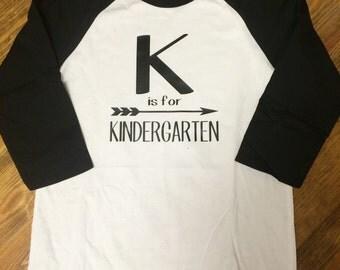 K is For Kindergarten raglan