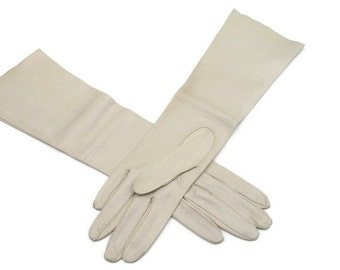 Vintage Womens Long Leather Gloves, Superb Lambskin gloves, Taupe 6 1/2 Italy