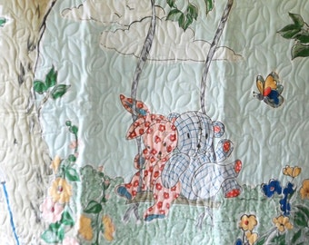 Quilt - Quilted Baby Blanket - Baby Quilt - Gender Neutral Baby Quilt for Boy or Girl - Bear and Bunny Tree Swing