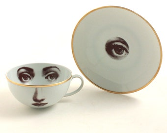 Altered Porcelain Cup Coffee Tea Saucer Woman Eye Lina Cavalieri Vintage Gold Rim White Brown Romantic Whimsical