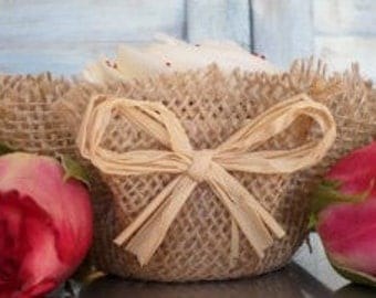 Rustic Burlap Cupcake Wrappers Raffia Papers Unique Decor Wedding Southern FAVORS Party Real Rustic Country
