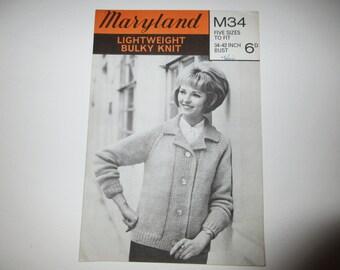 Vintage Knitting Pattern Ladies Jacket