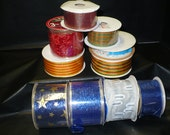Mixed Lot of Ribbon Rolls ... 10 Rolls of Assorted Ribbon .. New - Never Used. Various widths ... all rolls are wired except for 25 yd. roll