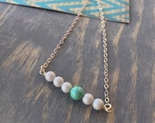 beaded bar necklace, dainty sterling silver, teal and gray, petite beaded necklace, layering minimalist necklace, swarovski beads