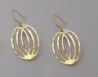 ON SALE Gold Earrings  Hammered earring  dangle earrings   Jewelry Handmade