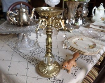 Vintage Gold Metal Tall Pillar Candle/Candlestick Holder with Cystals/Beads/Jewels
