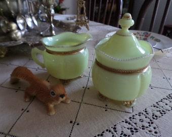 Victorian Tarentum-Georgia Gem-Lime/Yellow Custard Glass-Gold Beaded Trim-Sugar Bowl & Creamer Pitcher