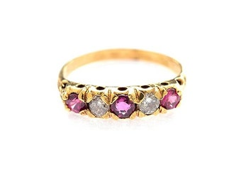 A Pink Sapphire, Diamond, 14k Yellow Gold VINTAGE Estate Gemstone Sale