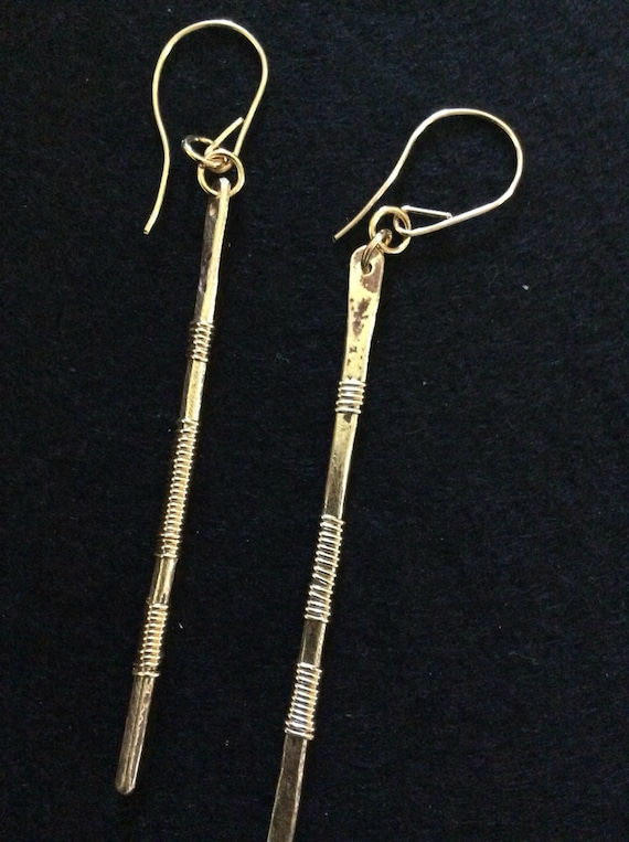 Gold filled wire wrapped brass earrings