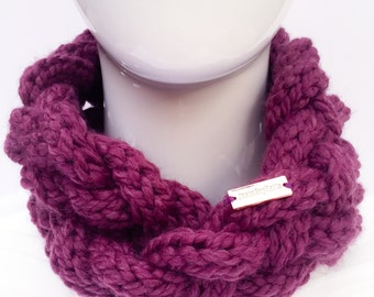 Braided Knit Scarf, Knit Cowl, Knit Infinity Scarf, Knit Neck Warmer, Winter Accessories, Fig, Purple, Christmas Gifts, Gifts under 30