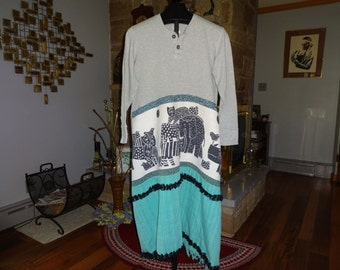 Upcycled XL Women's Funky Animal Warm and Cozy Maxi Dress