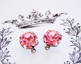 11mm Round Rose Pink Rhinestones in Antiqued Silver Ox 1 Ring DROP Charm Settings - 2