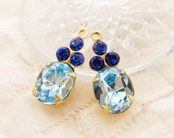 Vintage Rhinestone Oval Light Sapphire & Sapphire Blue Glass Stone Drops Charms Brass Set Stones - 2