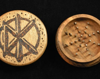 Herb Grinder - Custom Woodburned Punk Rock themes