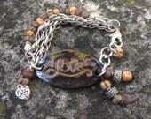 Boho wrap bracelet Brown earth tones LOVE Christmas gift Yoga inspired motivational ceramic charm beaded and chain bracelet