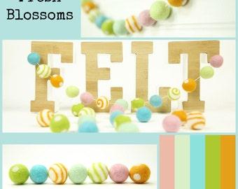 Felt Balls // DIY Garland // DIY Mobile // Fresh Blossoms Color Set // 2.5 cm // 25 Count