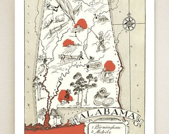 Alabama Picture Map Shown In Briar Color May Be Personalized Vintage Map Print