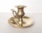 Vintage Collectible Brass Candle Holder, Brass Chamberstick, Decorative Brass Holder, Display Piece, Candlestick, Plain Simple Design