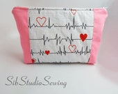 Pink Stethoscope Bag, 10 x 6.5 x 2 inches, Interior Vinyl Lined for Easy Cleaning, Zipper Closure, Extra Padded, Nurse Cosmetic Bag